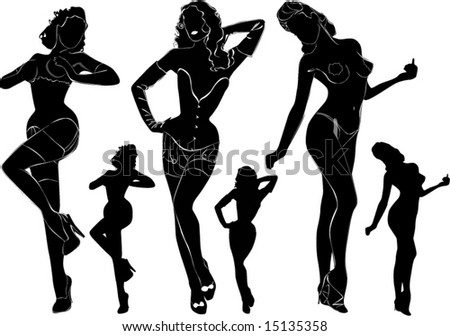 A lot of vector black silhouettes of beautiful nude womans on white background