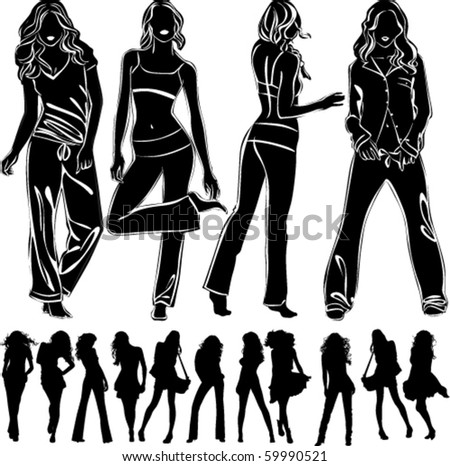 A lot of vector black silhouettes of beautiful woman on white background
