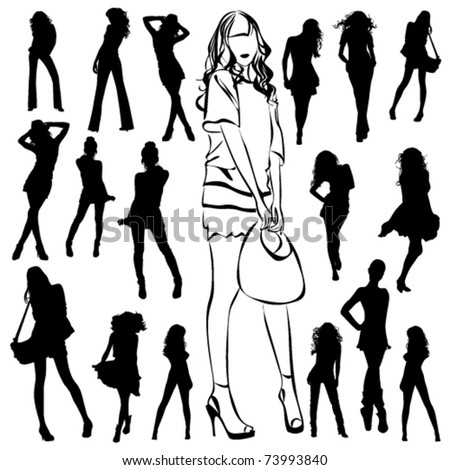 A lot of vector black silhouettes of beautiful woman on white background - stock vector
