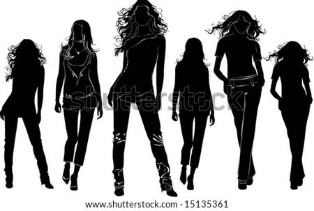 A lot of vector black silhouettes of beautiful womans on white background - stock vector