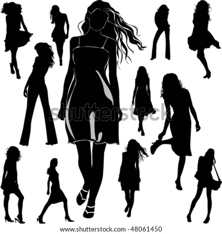 A lot of vector black silhouettes of beautiful women on white background