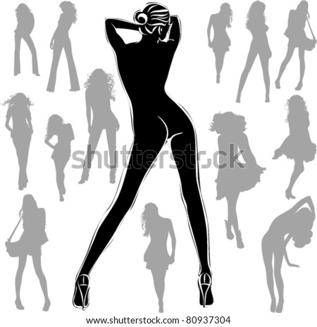 A lot of vector black silhouettes of beautiful women on white background - stock vector