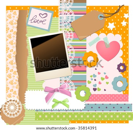 a lot of vector scrapbooking elements - stock vector
