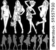 A lot of vector silhouettes of beautiful women on black background - stock photo