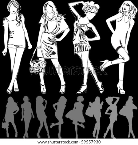 A lot of vector silhouettes of beautiful women on black background - stock vector