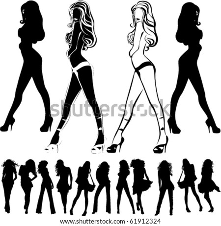 A lot of vector silhouettes of beautiful women on black background
