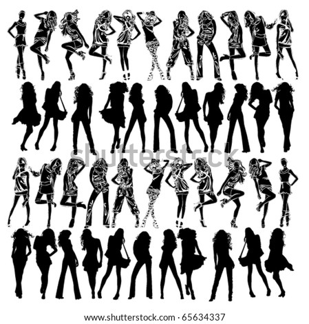big collection sexy women girl vector stock vector