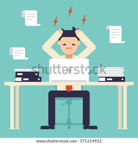 A lot of work. Stress at work. Busy time of businessman in hard working. Man tearing his hair out. New job stress work. Vector illustration. Flat deign style. - stock vector