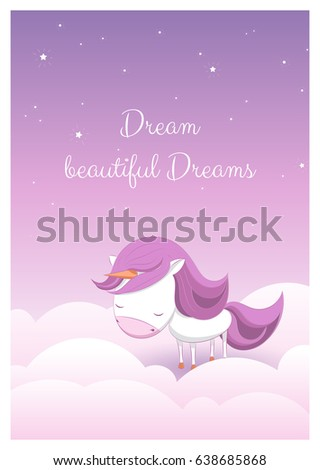 Lovely greeting card hand drawn unicorn stock vector hd royalty a lovely greeting card with a hand drawn unicorn among stars and clouds and an example m4hsunfo