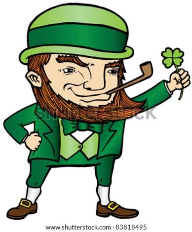 A lucky leprechaun wearing a green suit - stock vector