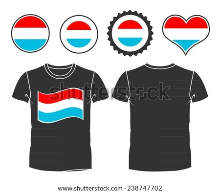 A Luxembourg businessman rips open his shirt and shows how patriotic he is by revealing his countries flag beneath printed on a t-shirt - stock vector