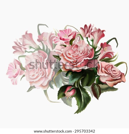 a luxurious bouquet of roses,isolated on white background, vector illustration - stock vector