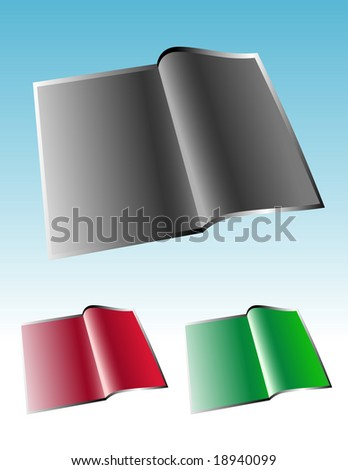 A magazine / booklet is opened up with blank space to add your text. Choose from 4 different colors. - stock vector