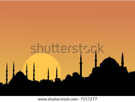 A magical IStanbul Sunset and the mosques - stock vector