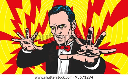 A magician projecting his powers - stock vector