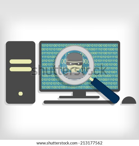 A magnifying glass detected a hacker (thief) on pc. Hacker detected on pc - stock vector