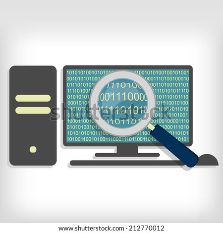 A magnifying glass searching and looking for sequences of bytes in pc. Searching bytes in pc - stock vector