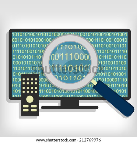 A magnifying glass searching and looking for sequences of bytes in smart tv. Searching bytes in smart tv - stock vector