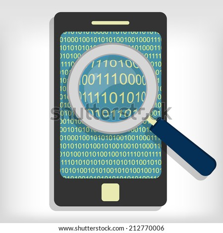 A magnifying glass searching and looking for sequences of bytes in smartphone. Searching bytes in smartphone - stock vector