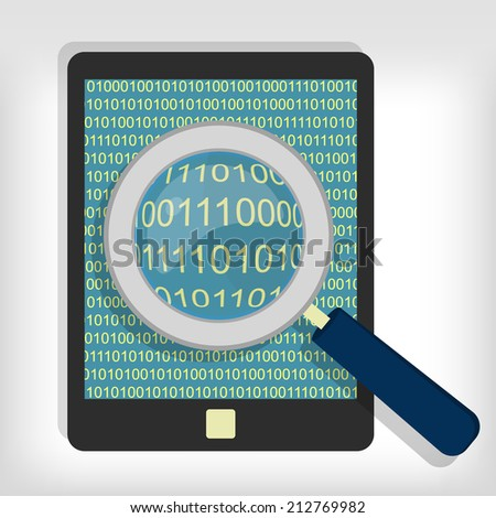 A magnifying glass searching and looking for sequences of bytes in tablet. Searching bytes in tablet - stock vector