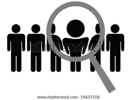 A magnifying glass selects or inspects a person in a line of people: choose for employment, recognition, promotion, hire, etc. - stock vector