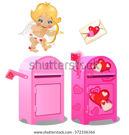 A mailbox for love letters and Cupid. Vector. - stock vector