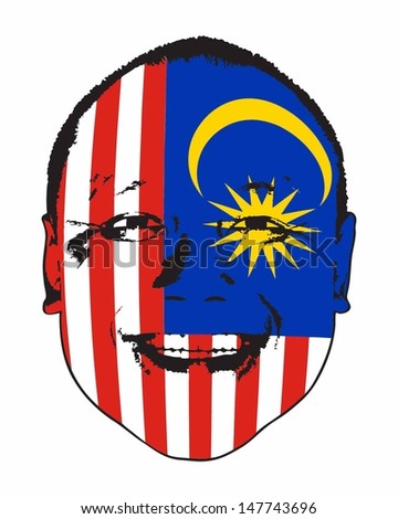A Malaysia flag on a face, isolated against white.  - stock vector