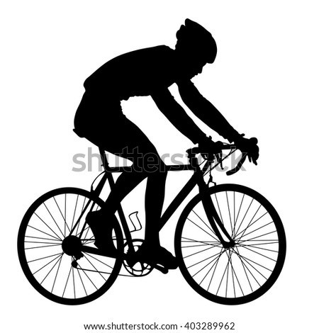 A male bicyclist riding a bicycle isolated against white background silhouette vector illustration. - stock vector