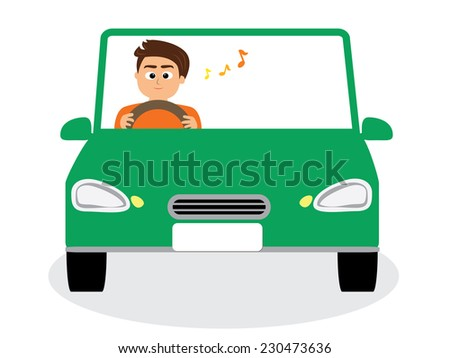 A male driver driving happily, vector illustration
