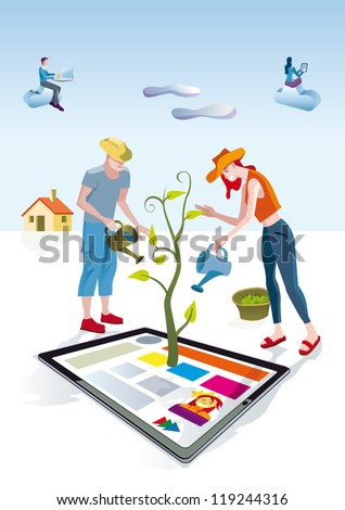 A man and a woman dressed as gardeners work creatively. They care and bring life a digital tablets. Other people download this content on their mobile devices. - stock vector