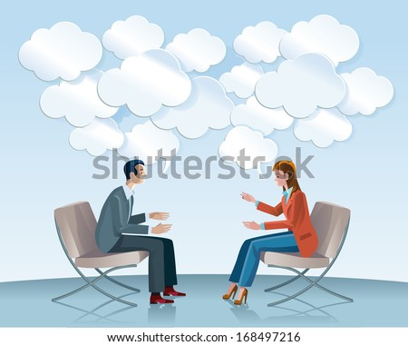 A man and a woman sitting in comfortable armchairs talk to each other openly and creatively. Among the gears seem flowing good ideas in Speech Balloons with shaped of clouds. - stock vector