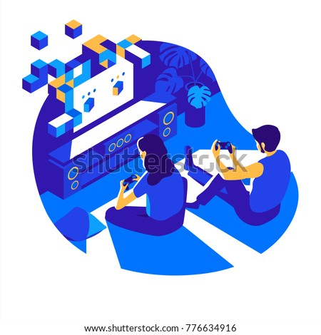 A man and a woman sitting on the floor play a video game on the game console in the darkroom at night. Vector isometric illustration.