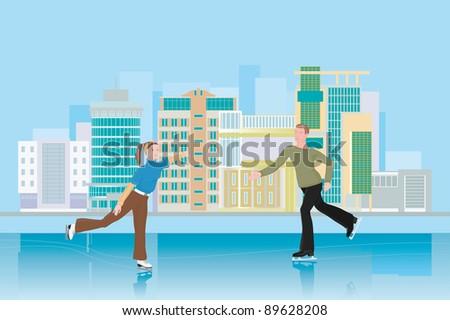 A man and a woman skating. City rink. People skating. - stock vector