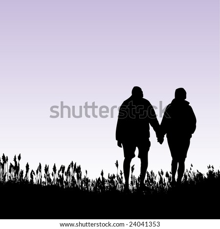 A man and woman walking in a field - stock vector