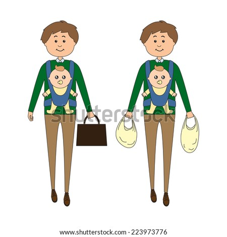 A man carrying a baby on his way back from work/grocery shopping, vector illustration - stock vector