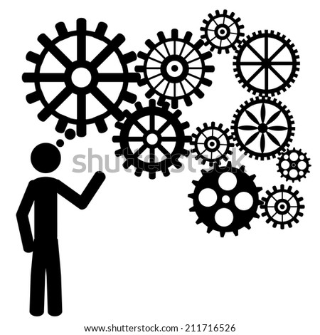 A man dream great things. It is a stick figure vector. EPS10  - stock vector