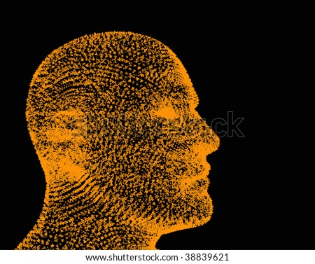 A-Man. Head formed from fonts. One type of one style and one size. - stock vector