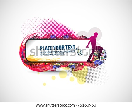 A man holding a banner add isolated white floral background. - stock vector