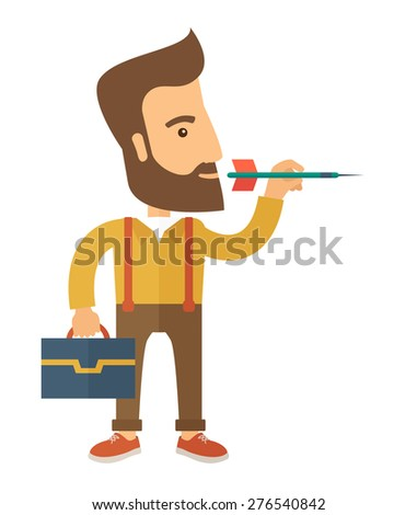 A man holding a target arrow looking for the target pad for him to achieve his goal A contemporary style. Vector flat design illustration with isolated white background. Vertical layout. - stock vector