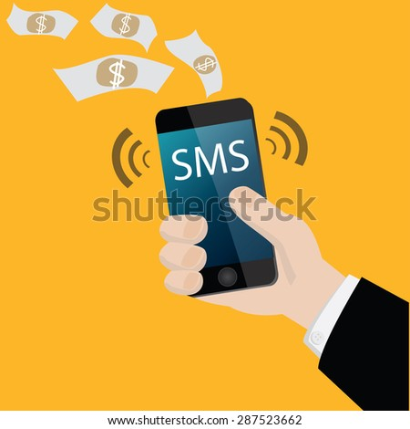 A man holding mobile smart phone with mobile banking sms alert  vector - stock vector