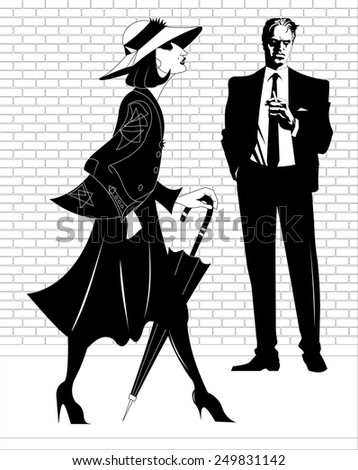 A man in a black suit and a woman with an umbrella - stock vector