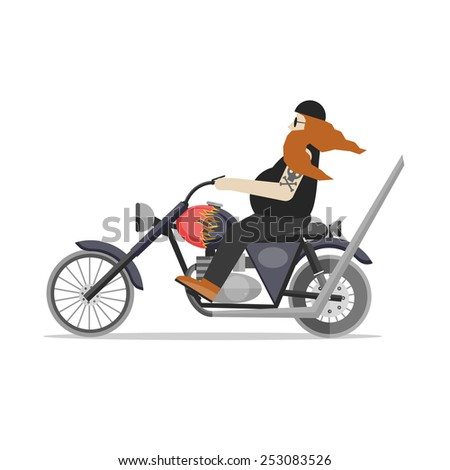 A man in a helmet with a beard riding a customized motorcycle. Old biker on a chopper motorcycle. Biker riding motorcycle. Flat design vector illustration. - stock vector