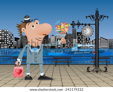 a man in a suit with flowers and gifts forward to seeing on the pavement - stock vector