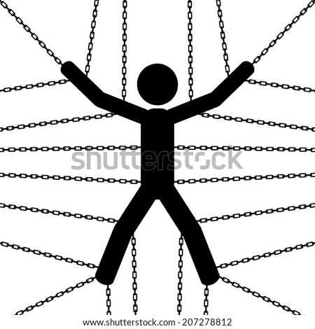 A man is chained from his hands and legs. It is a stick figure vector.  - stock vector