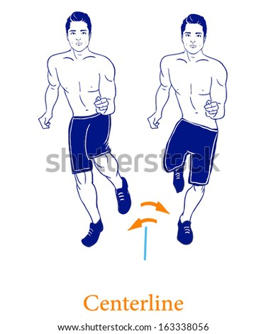 A man is doing exercises on the ground. Isolated vector illustration on white background  - stock vector