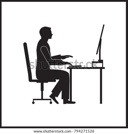 A man is sitting at a computer desk with a computer monitor. Vector illustration.