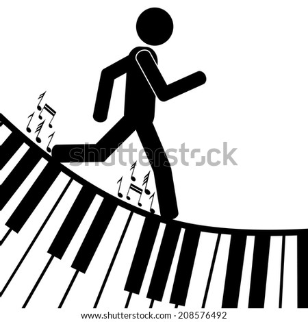 A man is sliding down on a piano. It is a stick figure vector. EPS 10  - stock vector