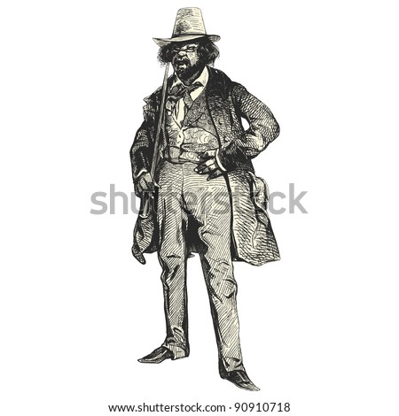 "A man of the 19th century - Vintage engraved illustration - ""Les Francais"" by L.Curmer in 1842 France - stock vector"