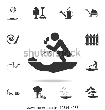 a man plants a plant icon. Detailed set of garden tools and agriculture icons. Premium quality graphic design. One of the collection icons for websites, web design, mobile app on white background