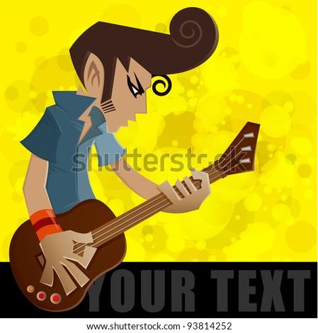 A man play the guitar, guitar player, vector illustration - stock vector
